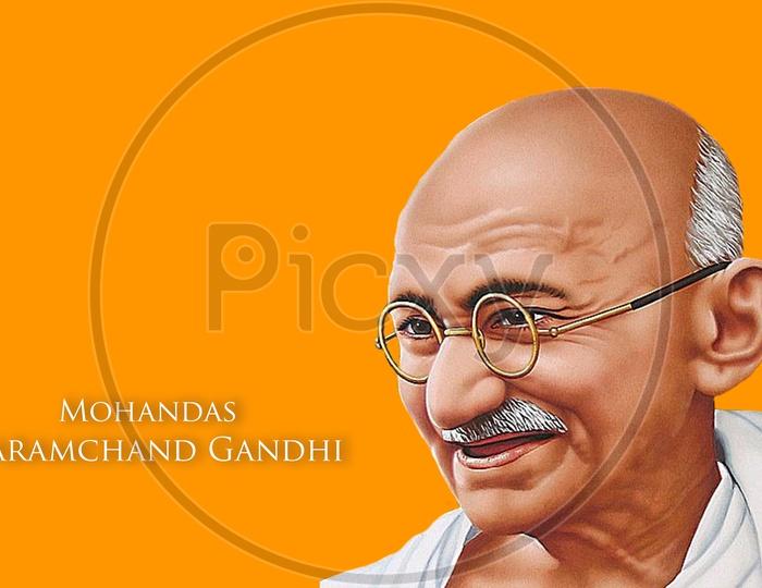 Stock vector illustration of Mohandas Karamchand Gandhi or mahatma gandhi, great Indian freedom fighter who promoted non violence