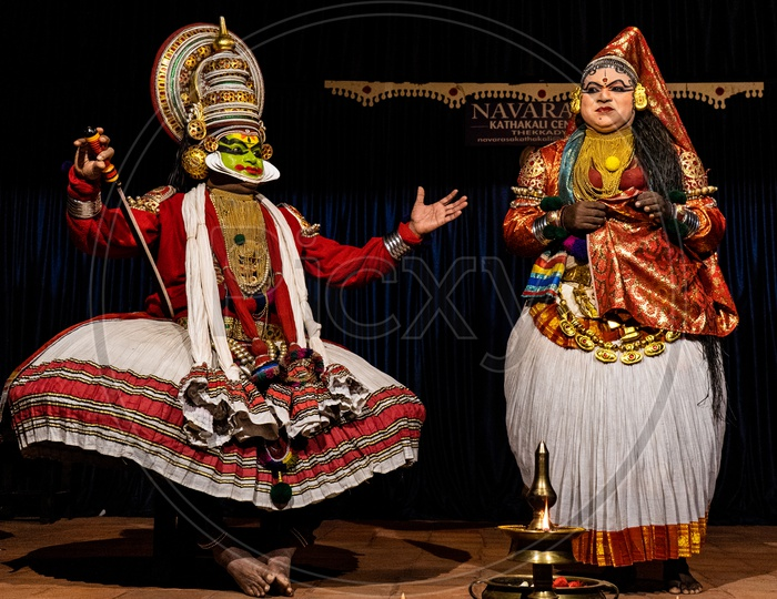 Artist Performing  Kathakali Dance , A Story Telling Play Dance Art Form  on Stage