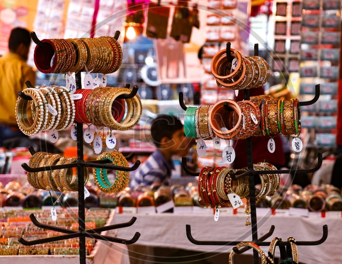 Bangles And  Jewelery Stalls  During Festival Season