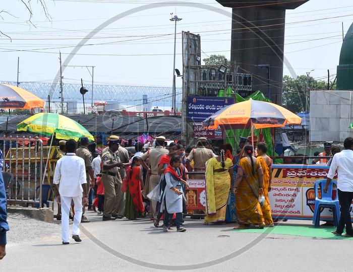 Police Controlling Crowd at Kanaka Durga Temple
