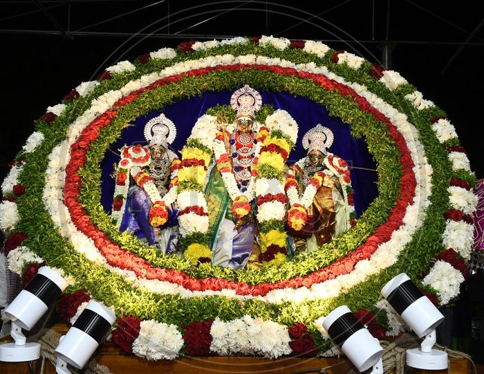 Indian Hindu Goddess Deity Kanaka Durga  Idols During Procession