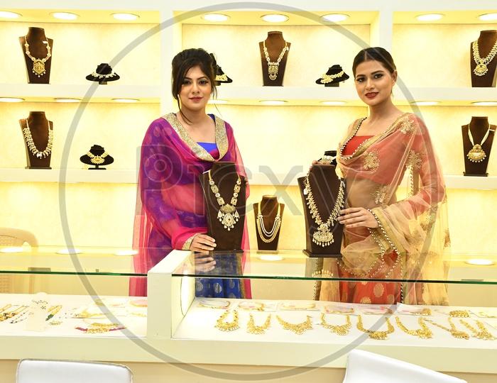Models showcasing the jewellery at Mahendra Jewellery Mart