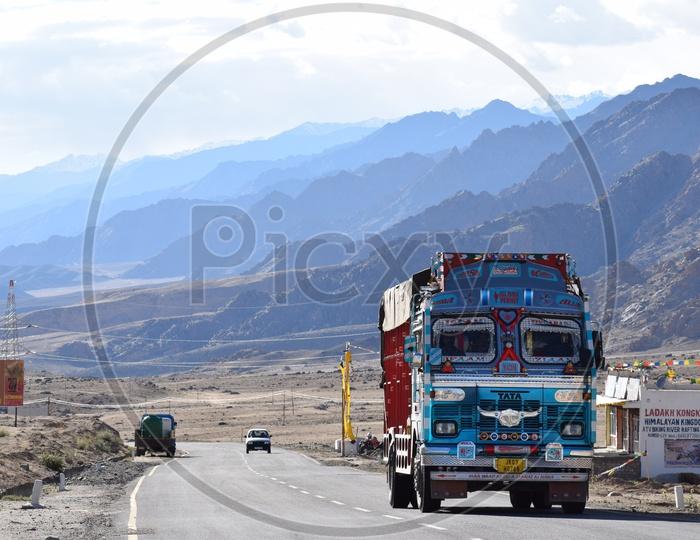 A Jammu and Kashmir  lorry passing on Srinagar- Leh highway