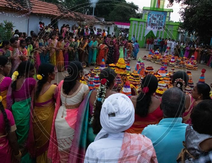 Saddula Bathukamma Festival Celebrations in Rural Telangana Villages
