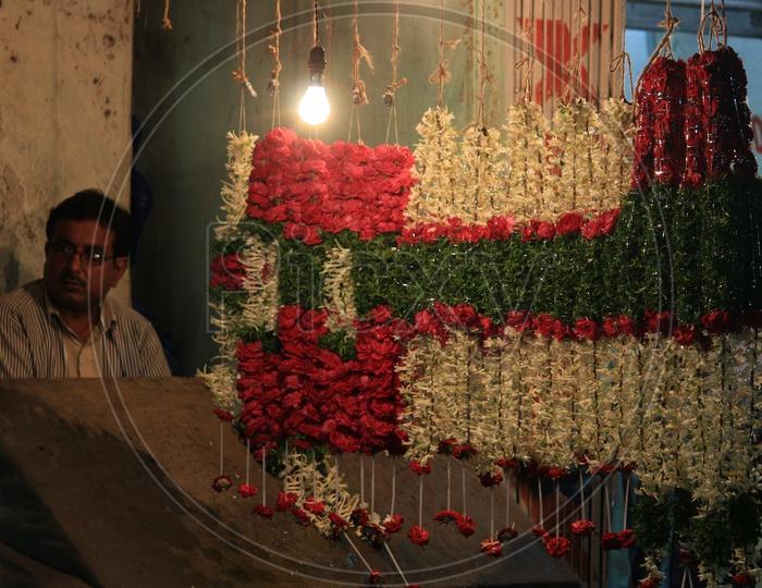 Flower Garland Shops Around Charminar Streets