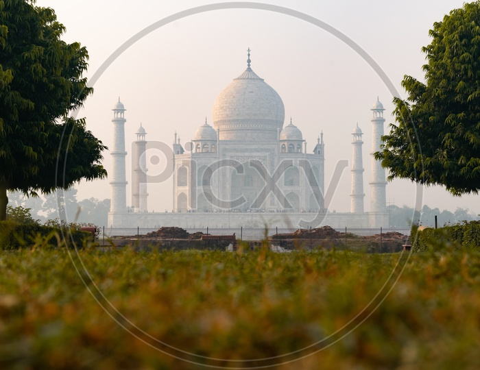 Taj Mahal Beautiful View With Lawn Garden Grass In Foreground on a Foggy Morning