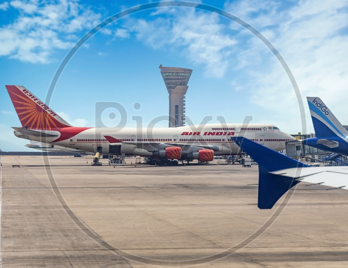 Air India Double Decker Boeing 747 in Hyderabad Rajiv Gandhi International Airport RGIA on a bright clear sunny day