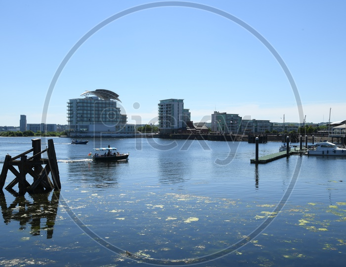 A View From Cardiff Bay Water Front On Rivers Taff And Ely in Wales