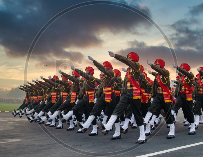 Sikh Regiment practising march past on the eve of Army day in delhi