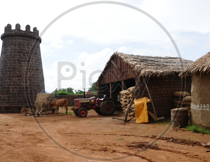 Paddy Storage Shelter With Paddy Bags And Bullock Carts in Rural Village Houses