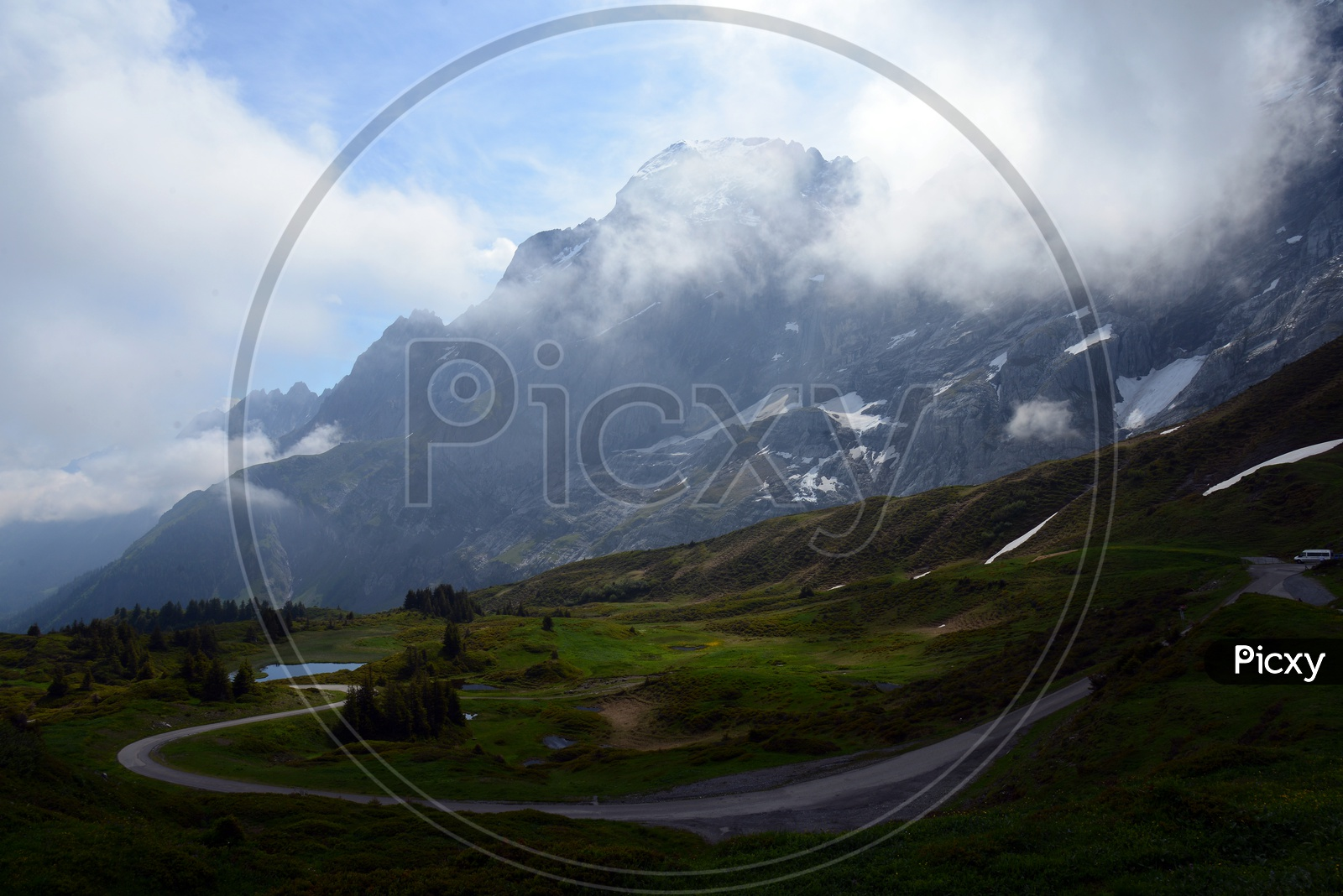 Landscape Of Swiss Alps with Mountains And Valleys