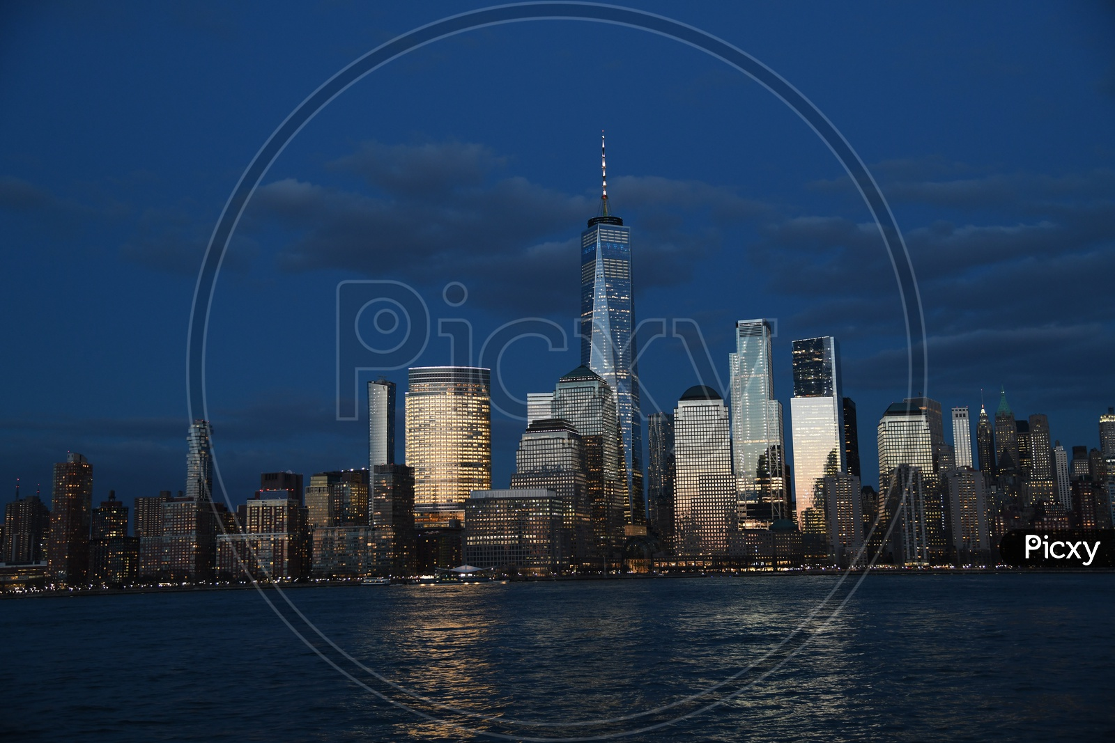 New York City Night Scape With High Rise Buildings And East River