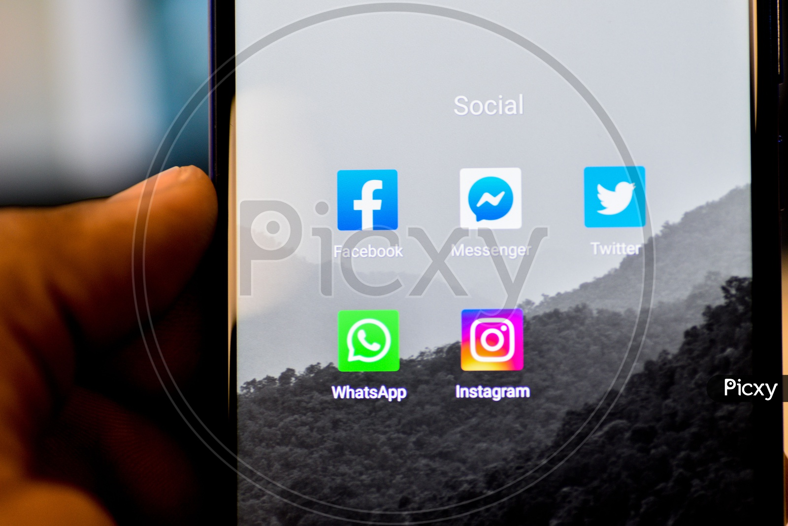 Social Networking Apps Installed In a Smartphone Icons Closeup