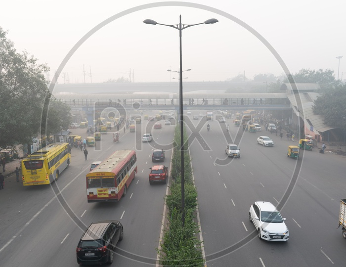 Low visibility due to Pollution(smog) at severe level in Delhi NCR after Diwali