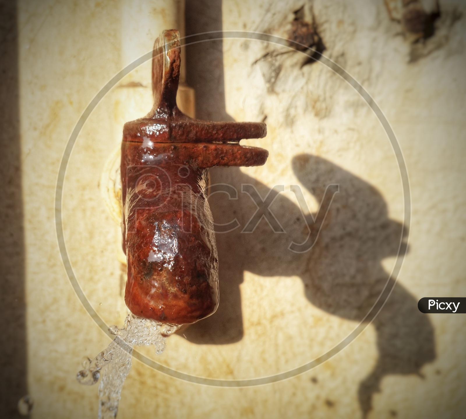Rusty vintage water tap
