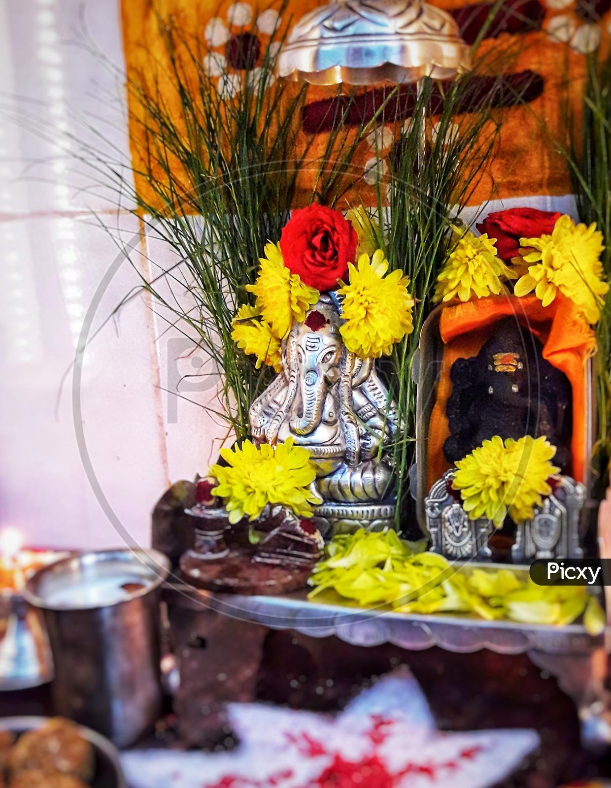 Lord Ganesh or Vinayakan Or Pillaiyar  Idols In a temple