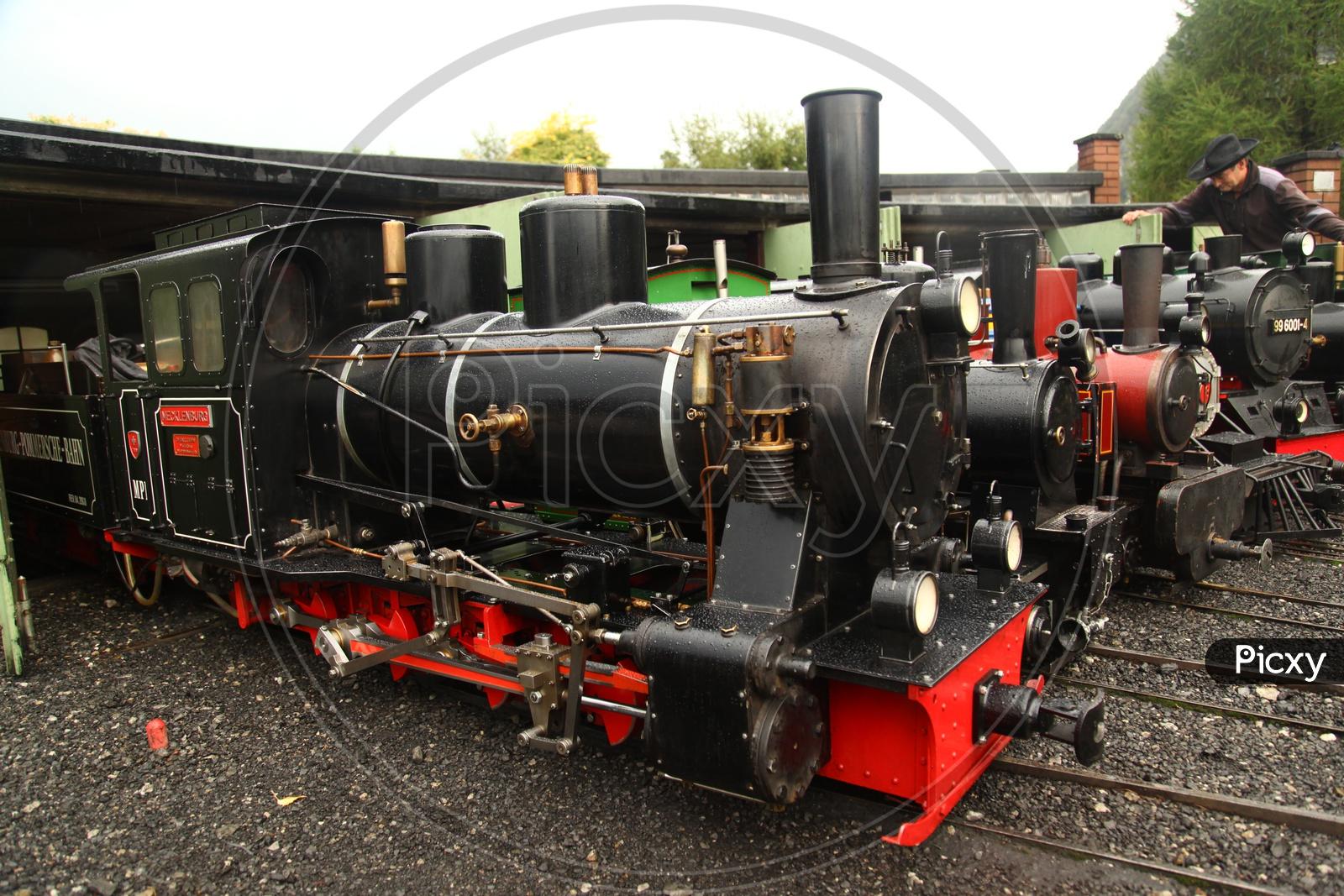 Vintage old Steam Engine Train On a Narrow Gauge Track