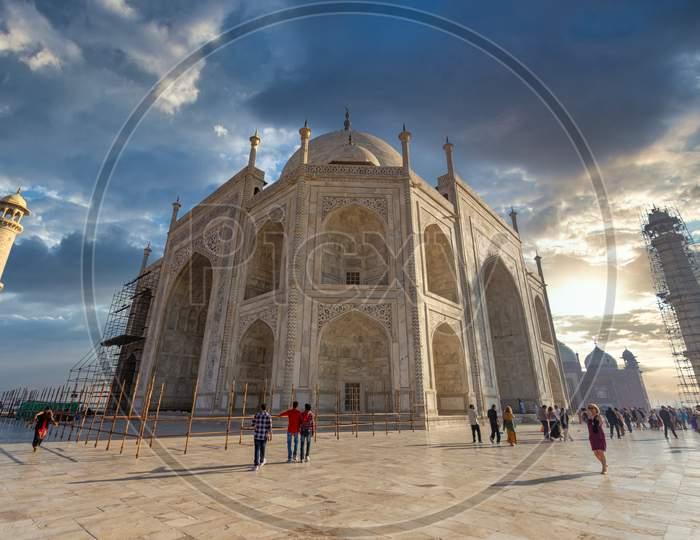 Tourists At Taj Mahal in Agra