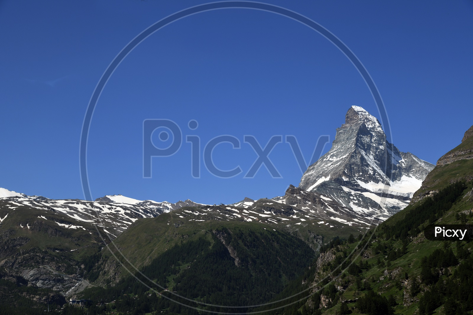 Landscape Of Mountain And  Blue Sky In Background