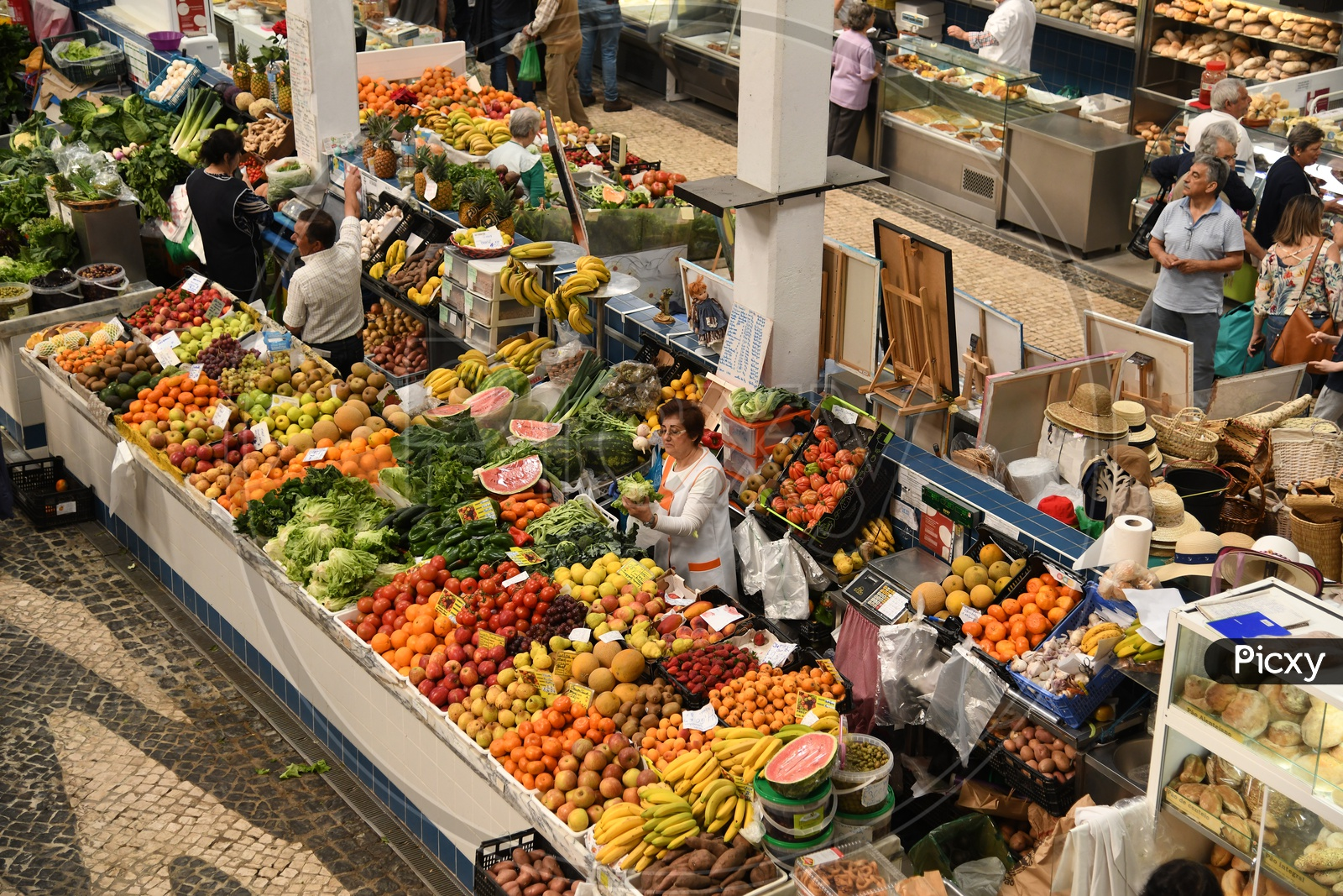 People Shopping for Fruits in a Market, Portugal