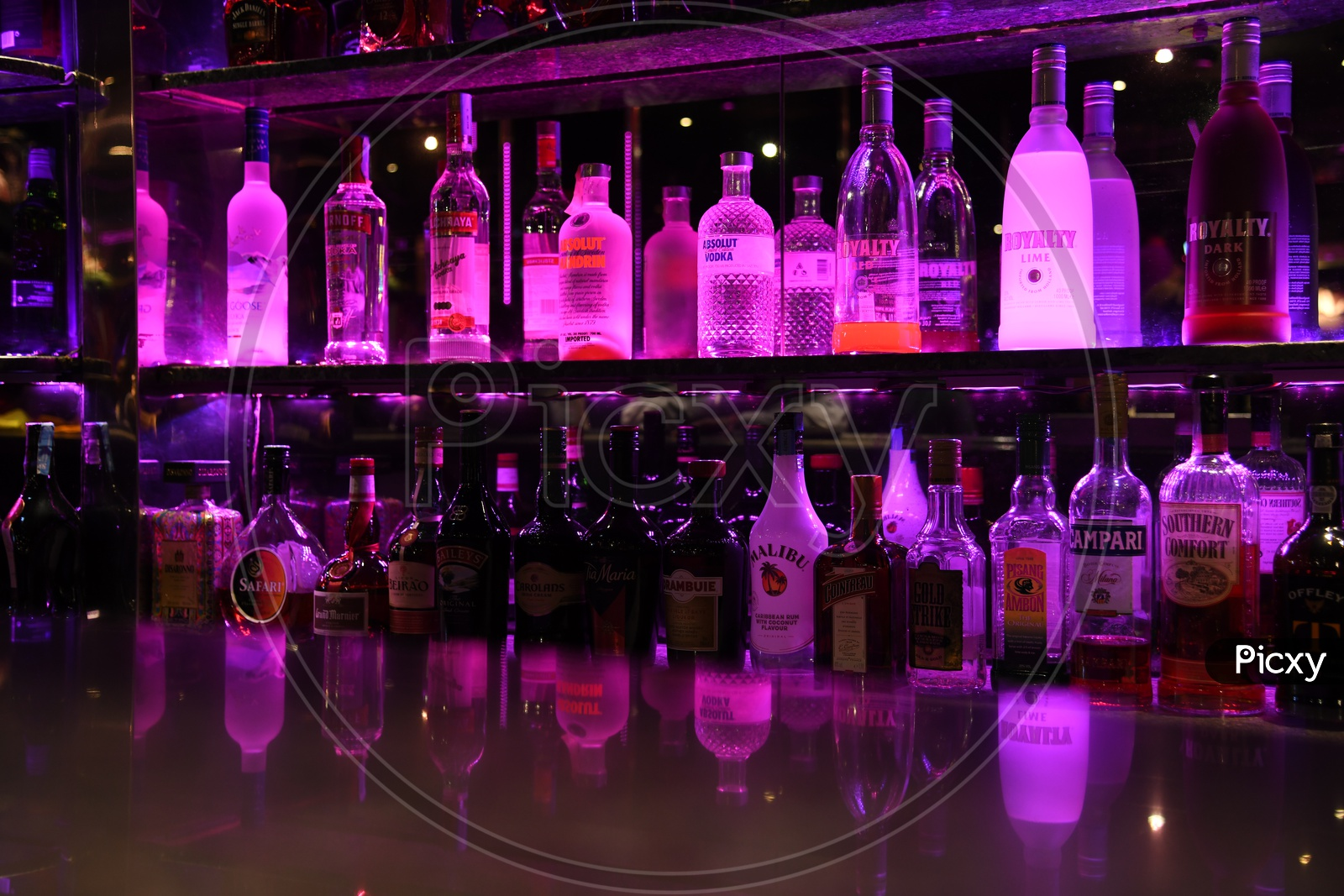 Alcohol Or Wine Bottles In A Bar Or Pub