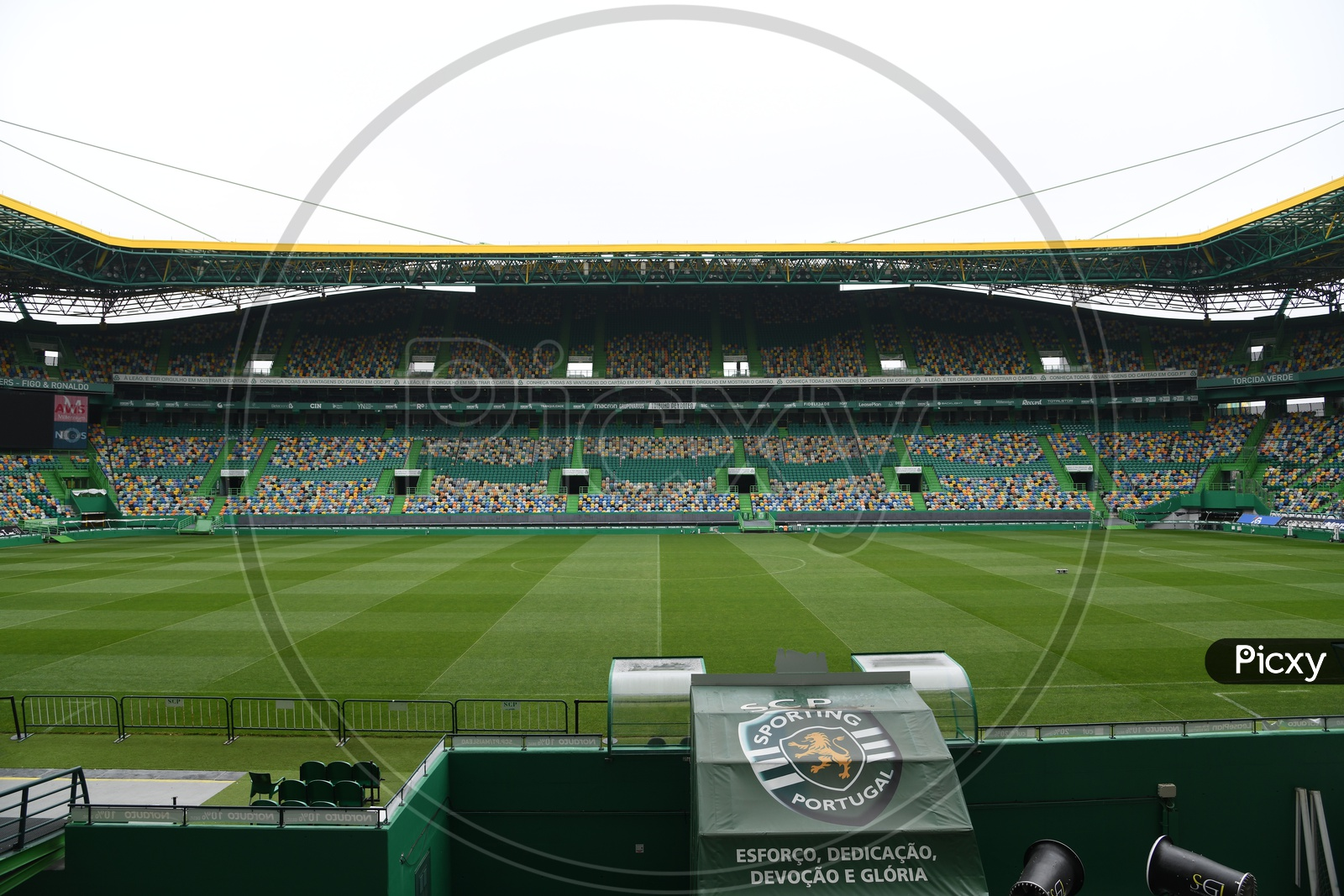 Football Stadium View With Chairs And Stands