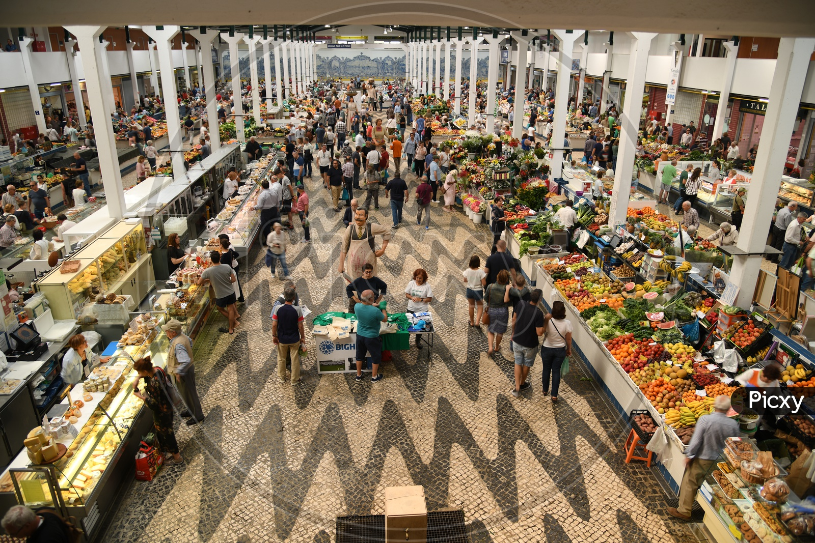 People Shopping For Groceries In A Market, Portugal