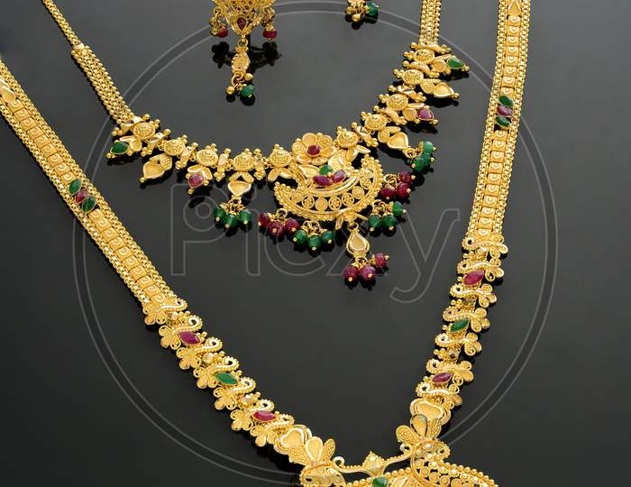 Indian Jewellery Elegant   Designs Over Isolated Background