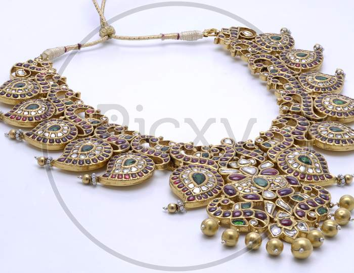 Indian Jewellery Necklace  Designs Over Isolated Background