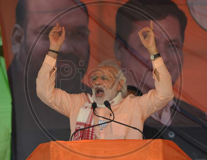 Prime Minister Of India Narendra Modi Election Campaign Rally During Assam General Assembly Elections In Nagaon, Assam April 4 2016