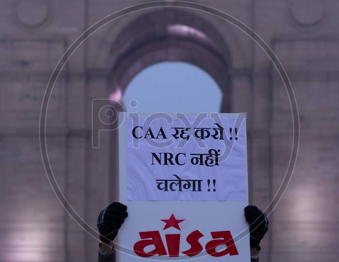 People Protesting against CAA (Citizenship Amendment Act 2019) and NRC(National Register of Citizens) at India Gate Delhi