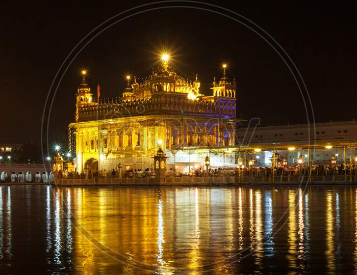 Illuminated night view of  the GoldenTemple or Harmandir Sahib, Amritsar