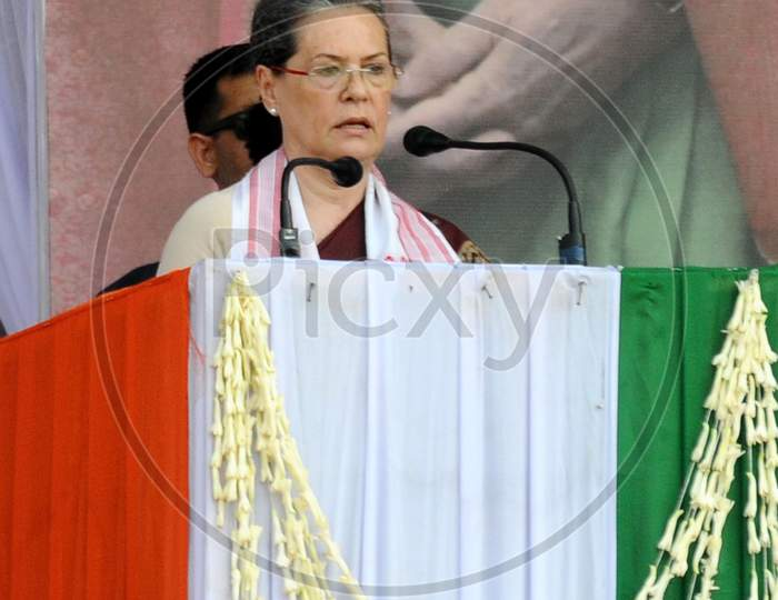 Congress President Sonia Gandhi  Delivering Speech At  An  Election Rally At Amguri In Sivsagar District Of Assam On 30-3-16.
