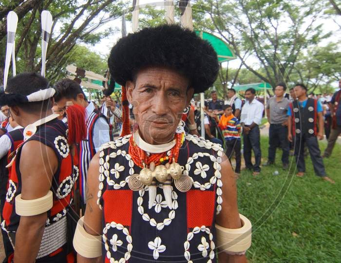 Naga Tribal People in Their Traditional Attire