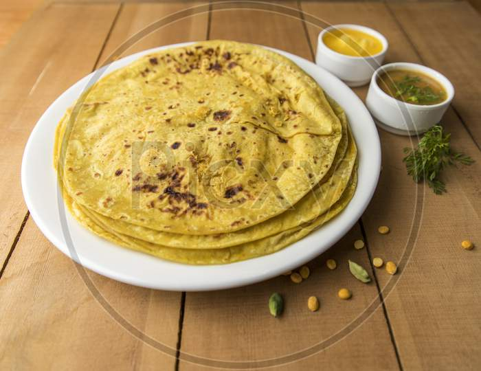 Puranpoli  A Maharashtra Dish For The Holi Festival Occasion On an Wooden Background
