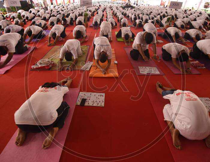 Young Indians Participating In Yoga Day Celebrations In Guwahati, Assam