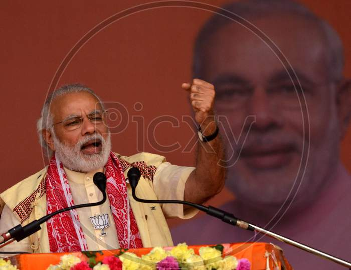 Prime Minister Narendra Modi Adreesing A Election Rally At Bokakhat In Golaghat District Of Assam