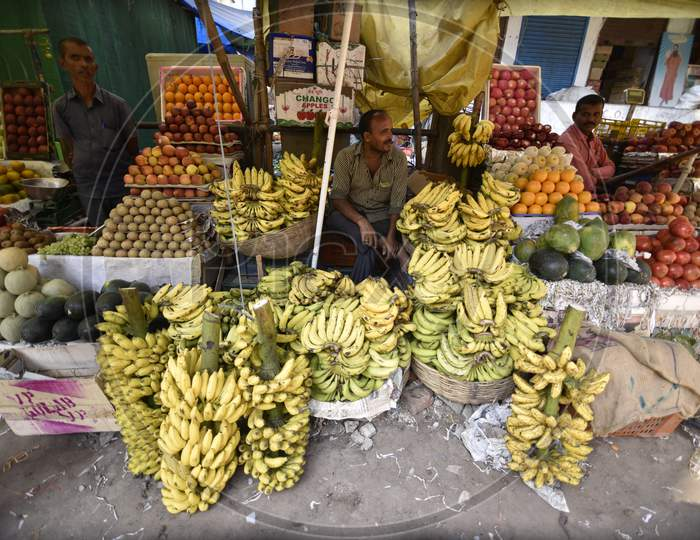 Fruit Market With  Stalls In Guwahati, Assam