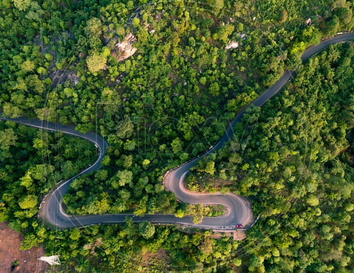 Aerial View of Araku to Visakhapatnam Road Covered with Greenery