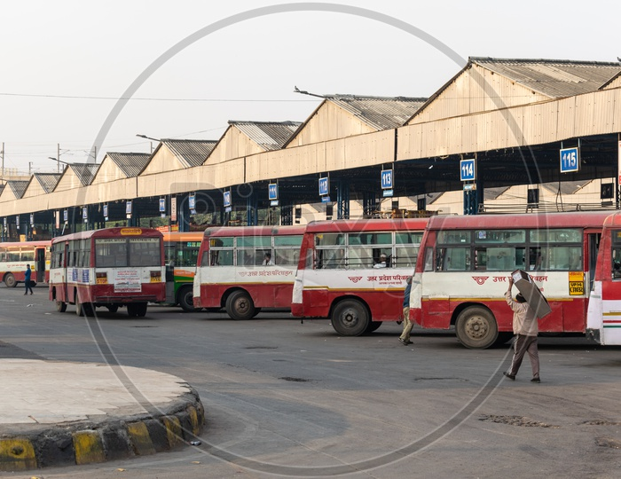 Uttar Pradesh UP roadways buses at ISBT Anand Vihar bus stand