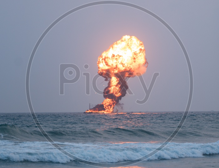 Explosion of a Dummy target by Indian Navy at a demonstration during Indian Navy Day celebrations in Visakhapatnam