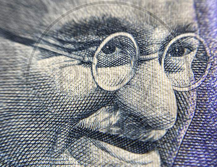 Mahatma Gandhi Picture on Indian Currency Notes Closeup