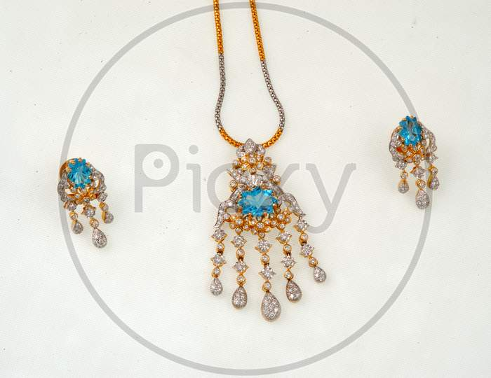 Necklace Jewelery With Gemstones On An Isolated White Background