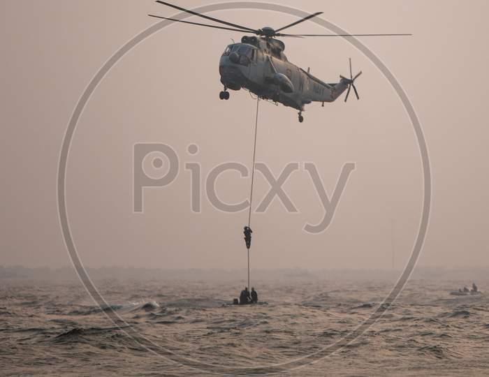 Indian Navy Nau Sena Light Weight Combat Helicopter At Navy Day Celebrations In Visakhapatnam