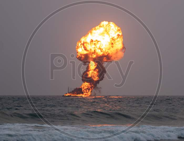 Explosion of a dummy target by Indian Navy on Navy Day,2019 in Visakhapatnam