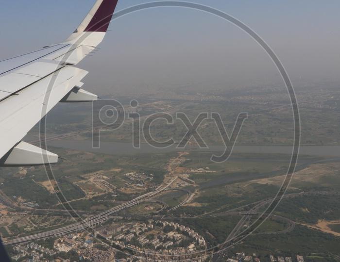 Delhi city in aerial view captured from flight window