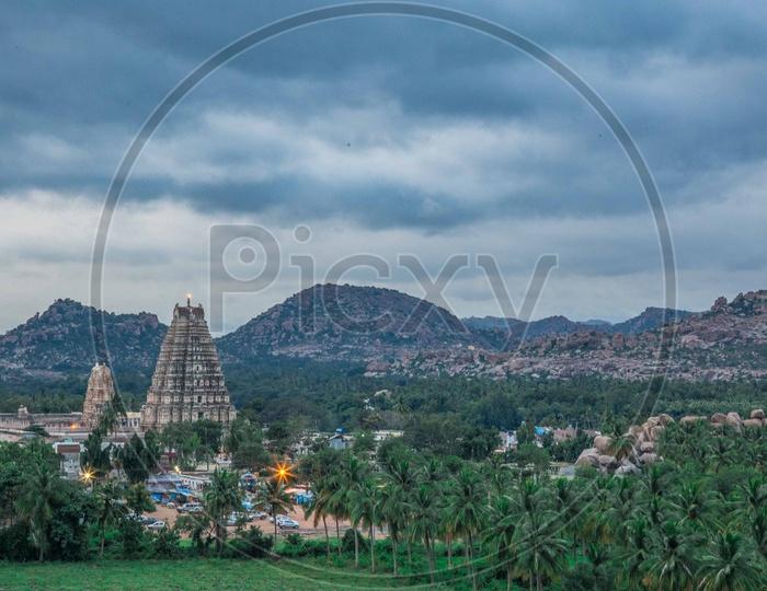 Beautiful view of virupaksha temple in Hampi