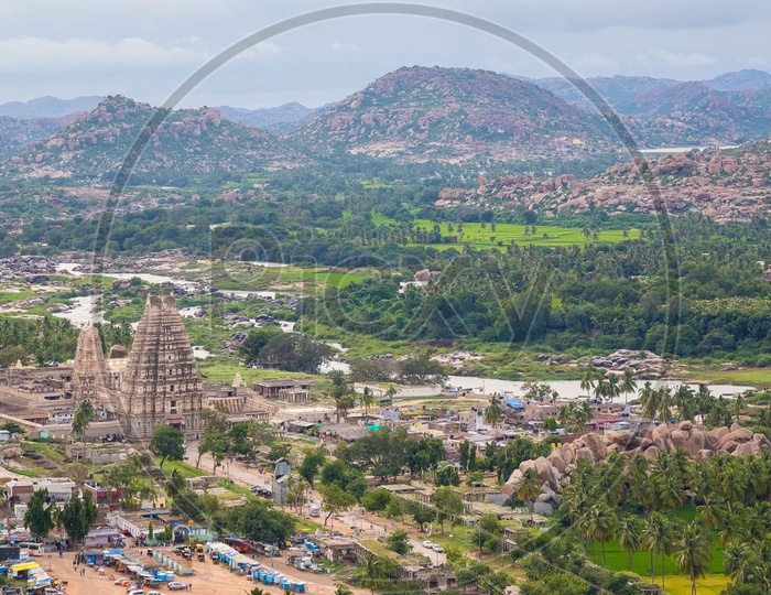 Aerial View of virupaksha temple with hampi Mountains