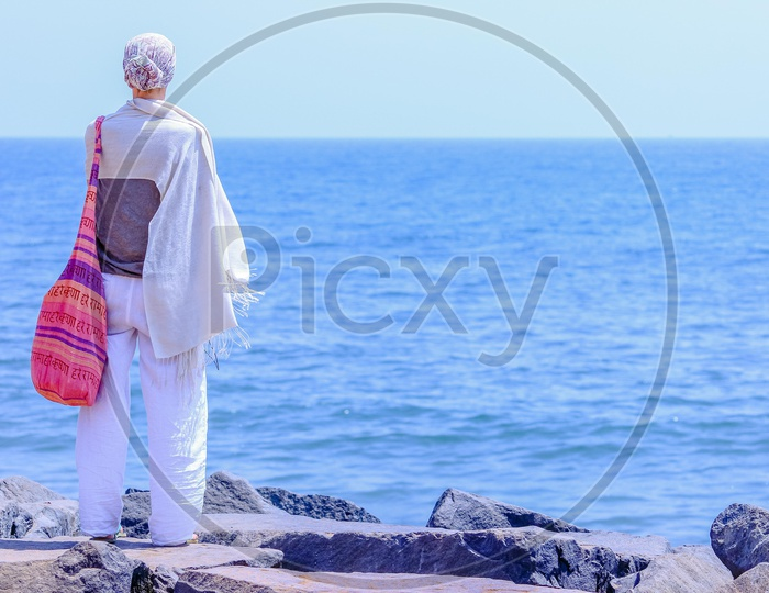 A foreigner at the beach in Pondicherry