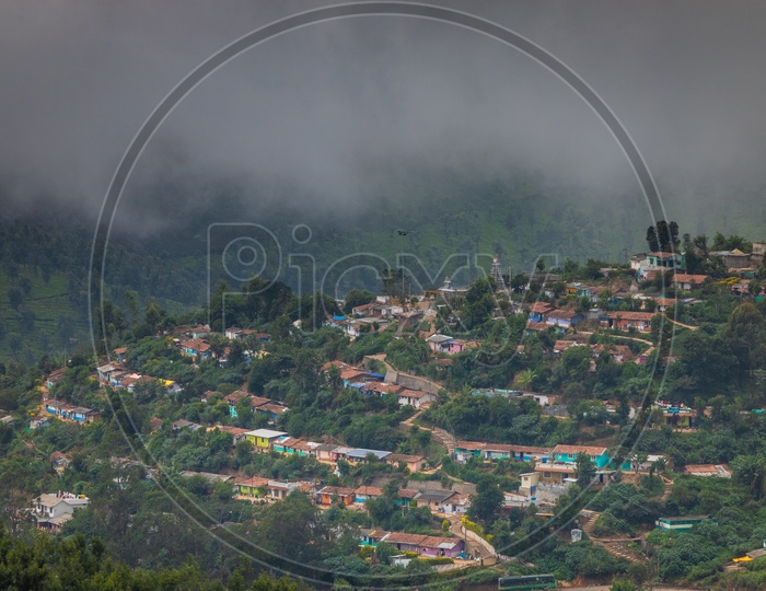 View of the houses in Ooty